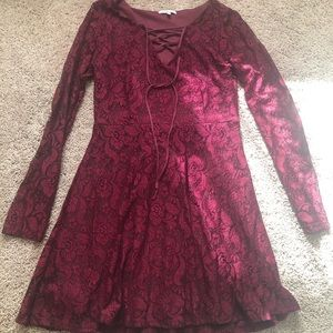 Charlotte Russe dark red lace dress